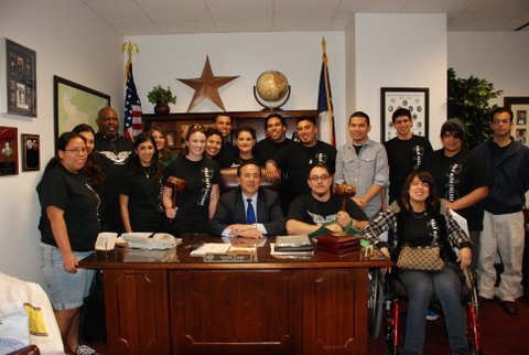Palo Alto College students pose with State Sen. Carlos Uresti.  They met with him as part of Community College Day at the Capitol.